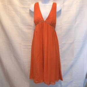 Max and Cleo womans size 8 dress orange silk strap
